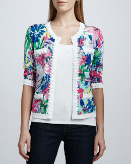 Michael Simon Tropical Floral-Print Bead-Trim Cardigan & Beaded Shell