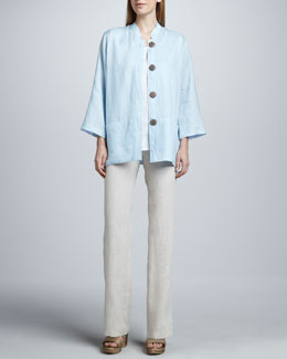 Caroline Rose Tissue Linen Big Shirt, Tank & Straight-Leg Pants, Petite