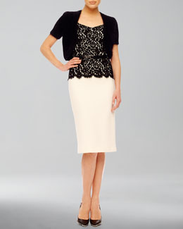Michael Kors  Short-Sleeve Shrug & Belted Lace-Top Dress