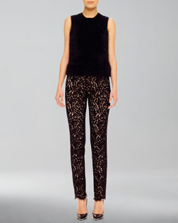 Michael Kors  Fuzzy Knit Shell & Fitted Lace Pants