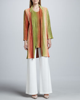 Caroline Rose Long Ombre Pleated Plisse Blouse, Tunic & Wide-Leg Stretch Pants