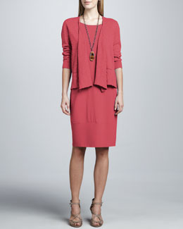 Eileen Fisher Draped-Front Slub Cardigan & Jersey Knee-Length Oval Dress
