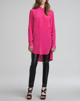 McQ Alexander McQueen High-Low Crepe de Chine Tunic & Faux Leather-Front Denim-Back Leggings