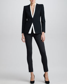 Armani Collezioni Detachable-Collar Jacket & Double-Faced Jersey Leggings