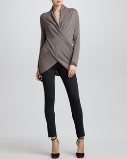 Armani Collezioni Draped Faux Wrap Sweater & Double-Faced Jersey Leggings