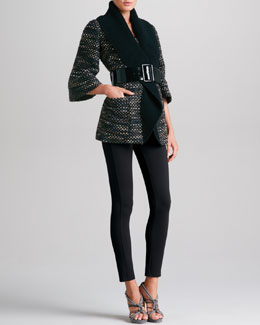Armani Collezioni Belted Coat with Oversized Collar & Double-Faced Jersey Leggings