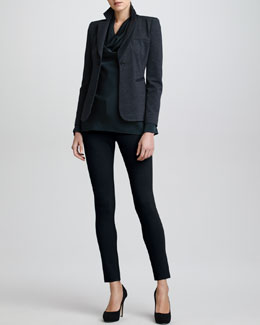 Armani Collezioni Fitted Jersey Jacket, Long-Sleeve Silk Cowl Blouse & Double-Faced Leggings