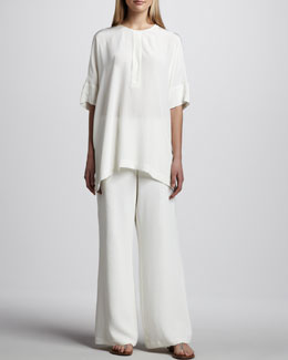 Go Silk Silk Dolman-Sleeve Tunic & Full-Leg Pants