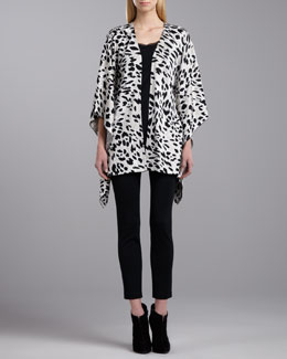 St. John Collection Animal Milano Poncho, Scoop Neck Sleeveless Top & Milano Knit Slim Ankle Pants
