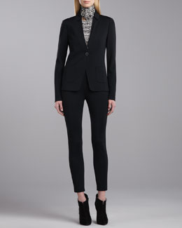 St. John Collection Milano Knit Fitted Blazer, Etch-Striped Blouse, Scarf & Milano Knit Slim Ankle Pants