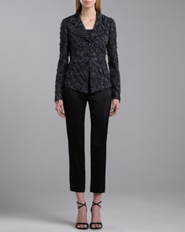 St. John Collection Gwyneth Fitted Fringe Jacket, Scoop Neck Sleeveless Top & Side Zip Emma Pants