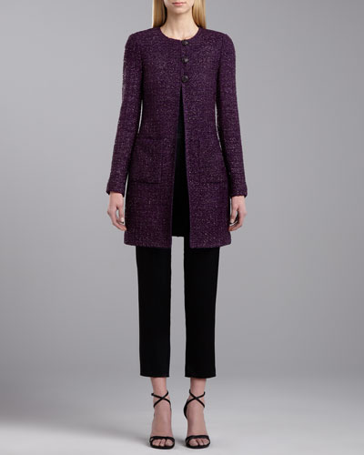 St. John Collection Middleton Eyelash Tweed Topper, Scoop Neck Sleeveless Top & Side Zip Emma Pants