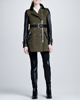 Rachel Zoe London Trench Coat, Anya Motorcycle Pants & Marlene Pleated Blouse