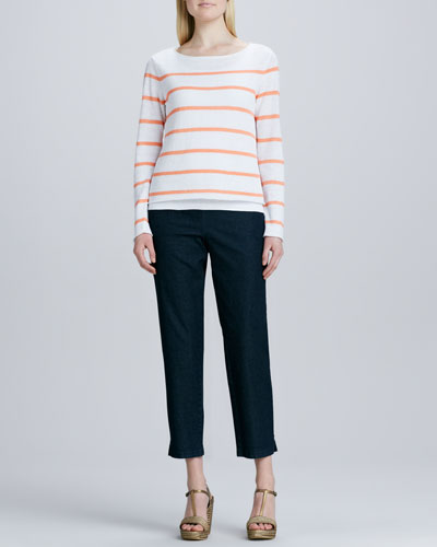 Eileen Fisher Skinny Striped Boxy Top & Slim Denim Ankle Pants