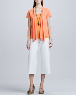 Eileen Fisher Open Asymmetric Linen Cardigan, Slim Tank & Washable-Crepe Cropped Pants, Petite
