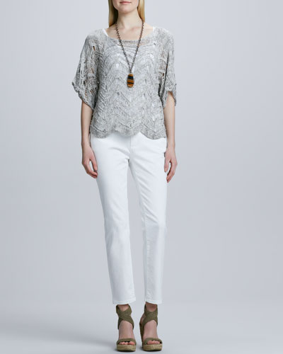 Eileen Fisher Wonder Scalloped Crochet Knit Top, Organic Cotton Slim Tank & Skinny Ankle Jeans