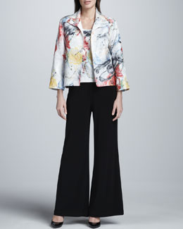 Caroline Rose Paint Splash Boxy Jacket, Basic Tank & Stretch-Knit Wide-Leg Pants