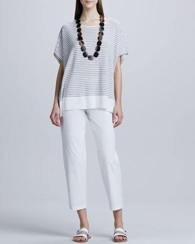 Eileen Fisher Linen Striped Top & Organic Cotton Slim Ankle Pants