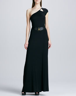 Rachel Pally Emmanuella One-Shoulder Maxi Dress & Elastic Golden-Hook Belt