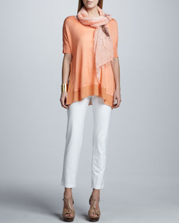 Eileen Fisher Silk Tussah Box Top, Washable Slim Ankle Pants & Splatter Painted Scarf