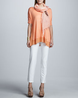 Eileen Fisher Silk Tussah Box Top, Washable Slim Ankle Pants & Splatter Painted Scarf, Petite