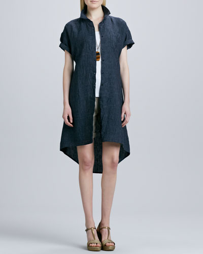 Eileen Fisher Delave Washed Linen Shirt Dress, Organic Cotton Slim Tank & City Shorts