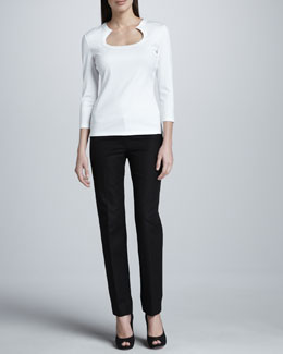 Lafayette 148 New York Horseshoe-Neck Tee & Astor Slim Pants
