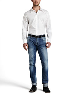 Dolce & Gabbana Basic Cotton Sport Shirt & Lightweight Faded Jeans