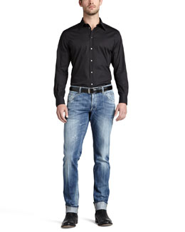 Dolce & Gabbana Stretch-Cotton Sport Shirt & Lightweight Faded Jeans