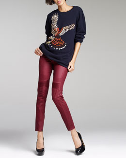 Stella McCartney Kestrel Intarsia Sweater & Coated Ankle-Zip Pants