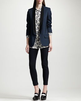 Stella McCartney Layer-Collar Blazer, Feather-Print Silk Blouse & Ankle-Zip Skinny Stretch Pants