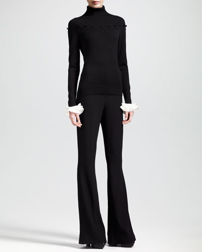 Alexander McQueen Ruffle-Cuff Mock-Neck Sweater and High-Waisted Bellbottom Pants