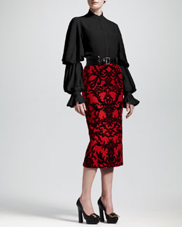 Alexander McQueen Double-Puff Sleeve Blouse, Jacquard-Flocked Pencil Skirt & Wide Leather Belt