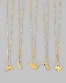 Dogeared Gold Vermeil State Charm Necklaces