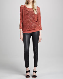 Catherine Malandrino Sequined Open-Mesh Sweater & Karen Leather Stretch Pants