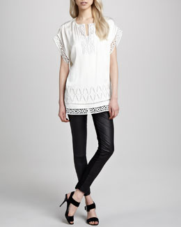 Catherine Malandrino Cutout-Trim Tunic & Karen Leather Stretch Pants