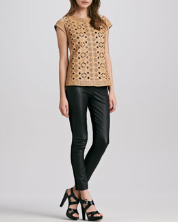Catherine Malandrino Leather Cutout Top & Karen Leather Stretch Pants