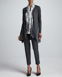 Eileen Fisher Linen Silk Long Cardigan, Shimmer Tank, Mosaic Silk Parallelogram Scarf & Slim Ankle Pants