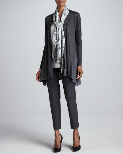 Eileen Fisher Linen Silk Long Cardigan, Shimmer Tank, Mosaic Silk Parallelogram Scarf & Slim Ankle Pants