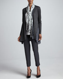 Eileen Fisher Linen Silk Long Cardigan, Shimmer Tank, Mosaic Silk Scarf & Slim Ankle Pants, Petite