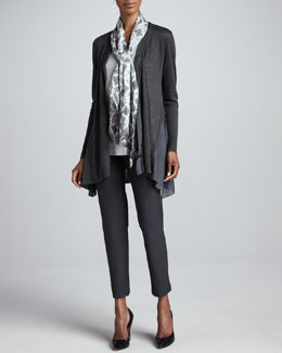 Eileen Fisher Linen Silk Long Cardigan, Shimmer Tank, Mosaic Silk Scarf & Slim Ankle Pants, Women's