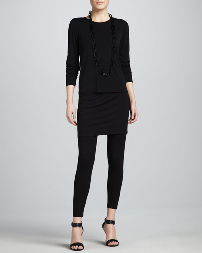 Eileen Fisher Silk Jersey Long-Sleeve Tee & Skirted Ankle Leggings, Petite