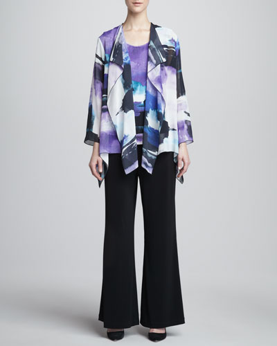 Caroline Rose Dreamscape Printed Georgette Jacket, Jersey Tank & Wide-Leg Pants