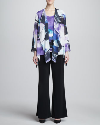 Dreamscape Printed Georgette Jacket, Jersey Tank & Wide-Leg Pants, Women's