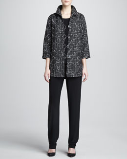 Caroline Rose Transitional Tweed Easy Shirt, Stretch-Knit Long Tank & Stretch-Knit Long Pants