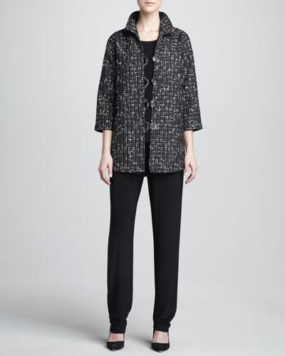 Caroline Rose Transitional Tweed Easy Shirt, Stretch-Knit Long Tank & Stretch-Knit Long Pants