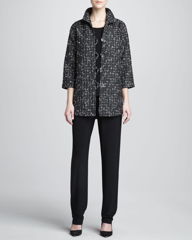Transitional Tweed Easy Shirt, Stretch-Knit Long Tank & Stretch-Knit Long Pants, Women's