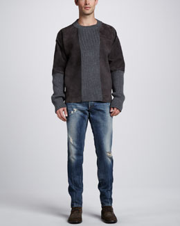 Dolce & Gabbana Suede & Knit Crewneck Sweater & Mid-Rise Distressed Jeans