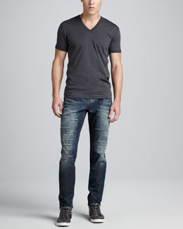 Dolce & Gabbana Mid-Rise Blue Jeans & Heather Jersey V-Neck Tee