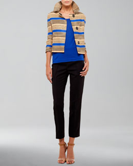 Akris punto Striped Jacket, Square-Neck Tank & Franca High-Waist Cropped Pants